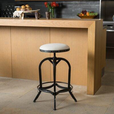 Mira Adjustable Height Swivel Bar Stool Upholstery: Linen - Off White