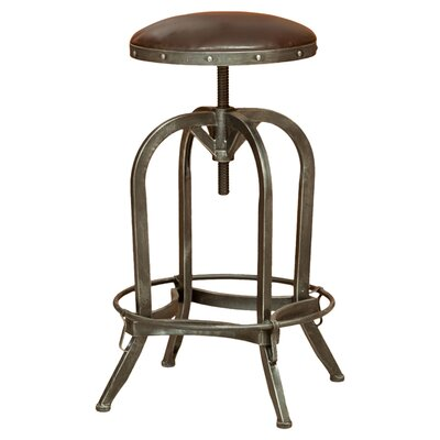 Mira Adjustable Height Swivel Bar Stool Upholstery: Bonded Leather - Brown