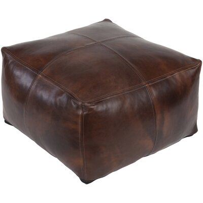 Lottie Leather Pouf Ottoman Upholstery: Dark Brown