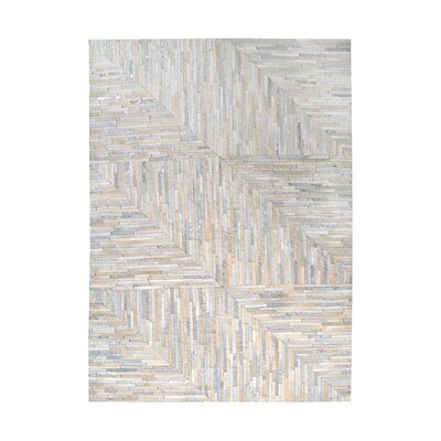 Garrison Leather Patchwork Hand Stitched Pearl/Gray Area Rug Rug Size: Square 6