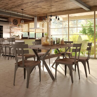 Darcelle 5 Piece Wood Dining Set Top Finish: Medium Brown Distressed Birch, Base Finish: Hammered Medium Brown Metal