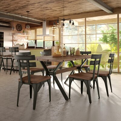 Darcelle 5 Piece Wood Dining Set Top Finish: Medium Brown Distressed Birch, Base Finish: Semi-transparent Gun Metal Finish