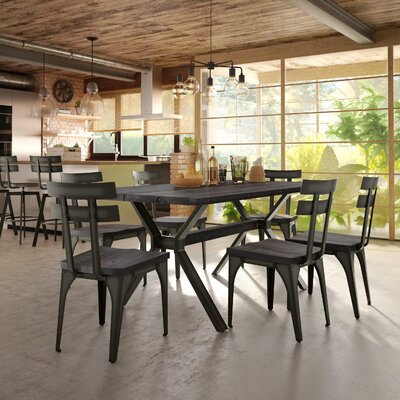 Darcelle 7 Piece Distressed Dining Set Top Finish: Medium Dark Gray Wood, Base Finish: Semi-transparent Gun Metal Finish