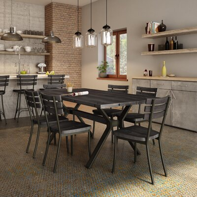 Darcelle 7 Piece Birch Dining Set Top Finish: Medium Dark Gray Wood, Base Finish: Semi-transparent Gun Metal Finish