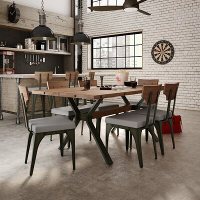 Darcelle 7 Piece Industrial Dining Set Top Finish: Medium Brown Distressed Birch, Upholstery Color: Polyurethane - Warm Grey