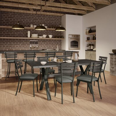 Image of Darcelle 5 Piece Metal and Aged Wood Dining Set Top Finish: Medium Dark Gray Wood, Base Finish: Semi-transparent Gun Metal Finish, Upholstery Color: Soft Brown Fabric