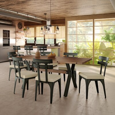 Darcelle 7 Piece Brown Dining Set Upholstery Color: Fabric - Beige, Base Finish: Semi-transparent Gun Metal Finish