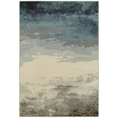 Celine Nights Abstract Blue/Beige Area Rug Rug Size: 53 x 76