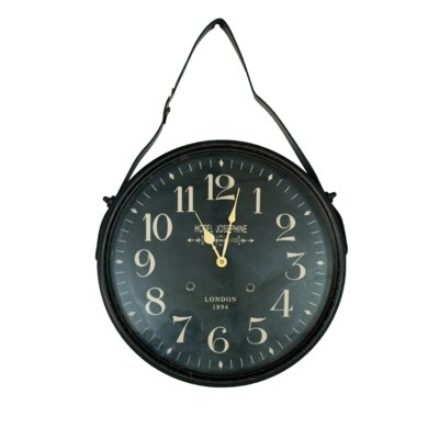 """16"""" Round Faux Leather Frame Wall Clock TRNT1219 37896361"""