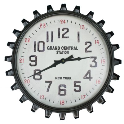 """Grand Central Station 19"""" Round Gear Frame Wall Clock TRNT1220 37896362"""