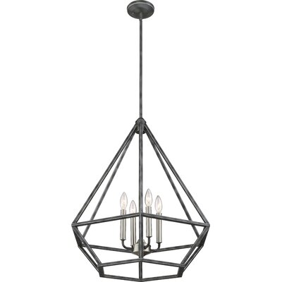 Basil 4-Light Foyer Pendant Finish: Iron Black/Brushed Nickel