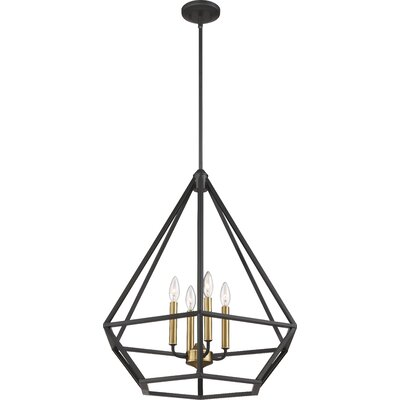 Basil 4-Light Foyer Pendant Finish: Aged Bronze/Brass Accent