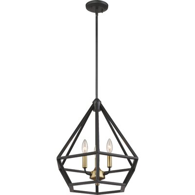 Basil 3-Light Foyer Pendant Finish: Aged Bronze/Brass Accent