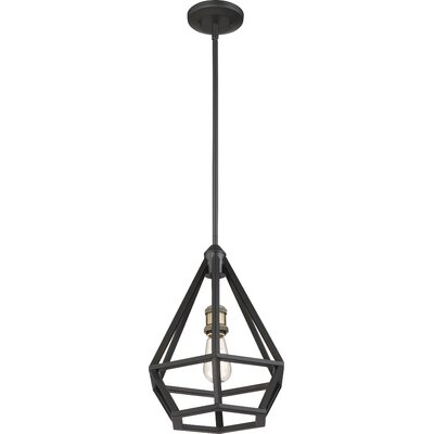 Basil 1-Light Foyer Pendant Finish: Aged Bronze/Brass Accent