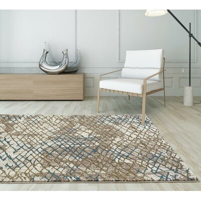 Kirsten Beige/Gold Indoor/Outdoor Area Rug Rug Size: 5 x 7