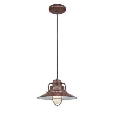 Fitzhugh 1-Light Glass Kitchen Island Pendant Size: 9.5 H x 14 W, Finish: Architectural Bronze