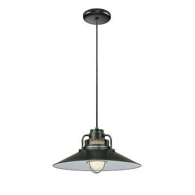 Fitzhugh 1-Light Glass Kitchen Island Pendant Finish: Satin Black, Size: 10 H x 18 W