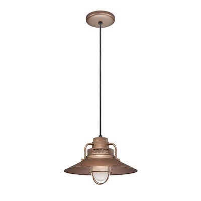 Fitzhugh 1-Light Glass Kitchen Island Pendant Size: 9.5 H x 14 W, Finish: Copper