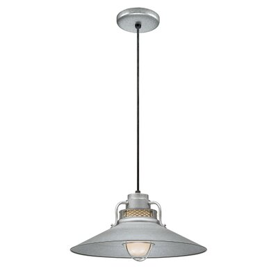 Fitzhugh 1-Light Glass Mini Pendant Size: 10 H x 18 W, Finish: Galvanized