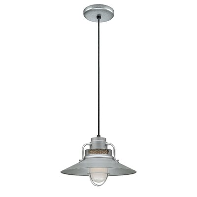 Fitzhugh 1-Light Glass Mini Pendant Size: 9.5 H x 14 W, Finish: Galvanized