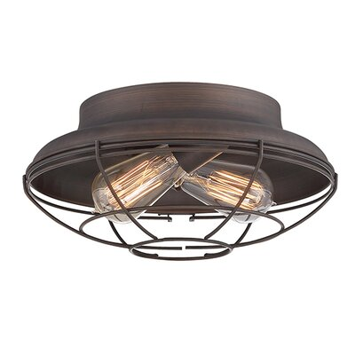 Bruges 2-Light Flush Mount Finish: Satin Nickel, Size: 6 H x 14 W x 14 D