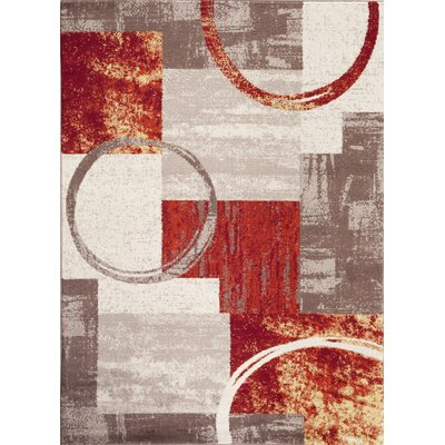 Geneva Red/Grey/Beige Indoor Area Rug Rug Size: 53 x 73
