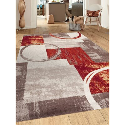 Geneva Red/Gray/Beige Area Rug Rug Size: Rectangle 2 x 3