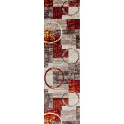 Geneva Red/Gray/Beige Area Rug Rug Size: Runner 2 x 72