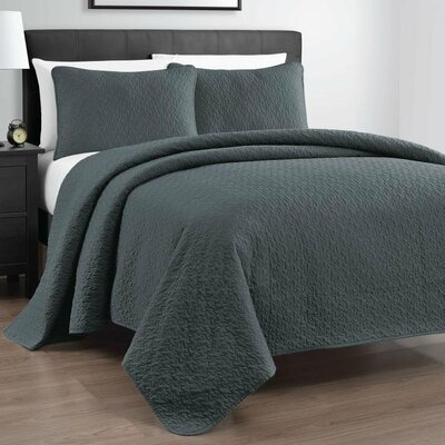 Gayla 3 Piece Reversible Quilt Set Size: Full / Queen, Color: Gray