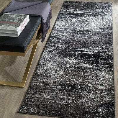 Costa Mesa Black, Silver/White Area Rug Rug Size: Runner 26 x 10