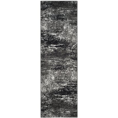 Costa Mesa Black, Silver/White Area Rug Rug Size: Runner 26 x 14
