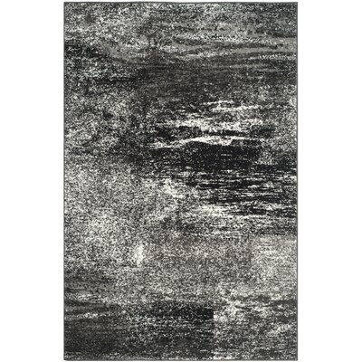Costa Mesa Black, Silver/White Area Rug Rug Size: Rectangle 26 x 4