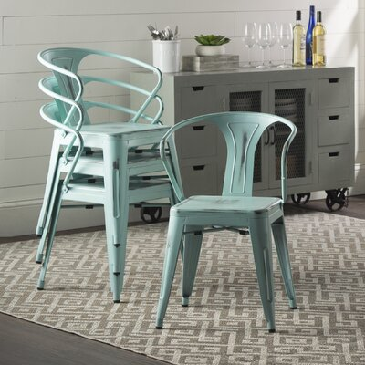 Ellery Metal Arm Chair Upholstery: Distressed Aqua