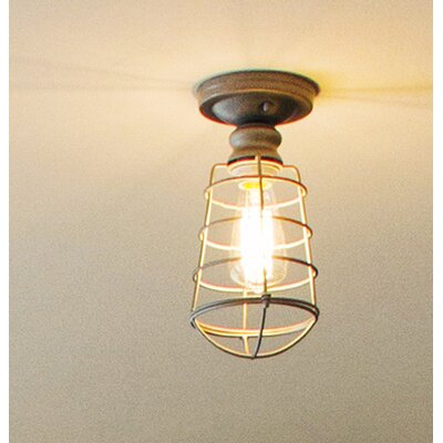 Leda 1-Light Semi Flush Mount Finish: Textured Coffee Bronze