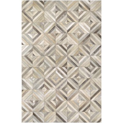 Easthampton Hand-Woven Ivory Cowhide Leather Area Rug Rug Size: 34 x 54