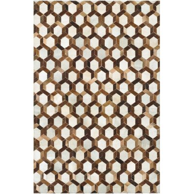 Easthampton Hand-Woven Ivory/Brown Area Rug Rug Size: Rectangle 5'4