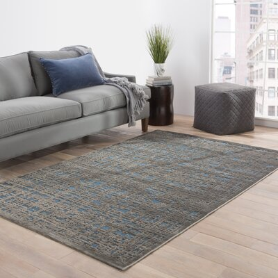 Oak Blue/Gray Area Rug Rug Size: 26 X 8