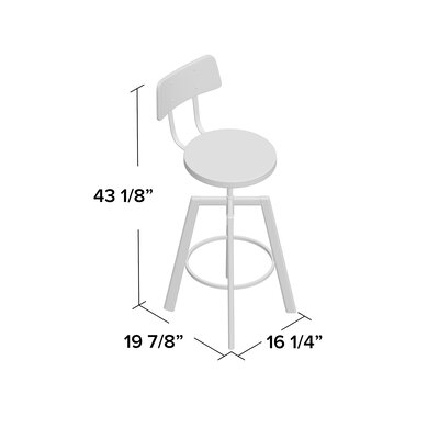 Karly Adjustable Height Bar Stool Upholstery: Medium Dark Gray, Finish: Semi-Transparent