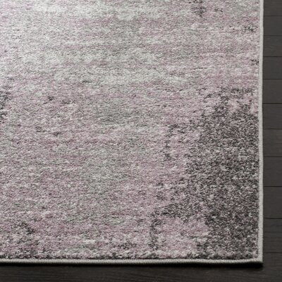 Costa Mesa Light Gray/Purple Area Rug Rug Size: Round 6