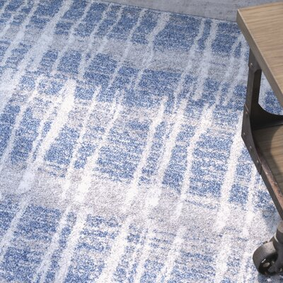 Kalyn Bright Blue/Medium Gray Area Rug Rug Size: 53 x 76