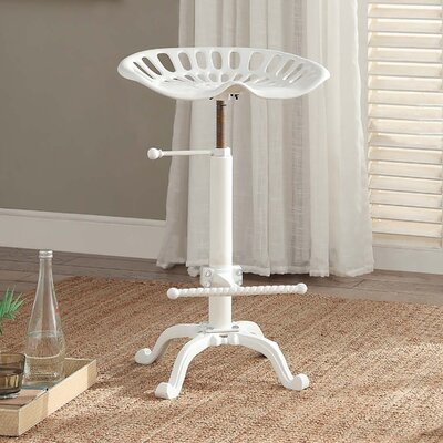 Elsinore Adjustable Height Swivel Bar Stool Finish: White