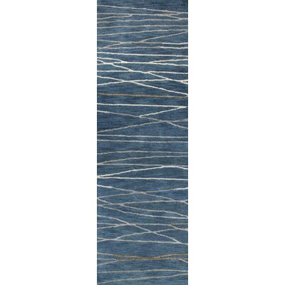 Soleia Hand-Tufted Azure Area Rug Rug Size: Runner 26 x 8