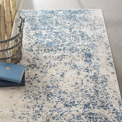 Terry Blue & Beige Area Rug Rug Size: Rectangle 93 x 126