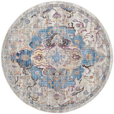 Arapaho Blue/Light Gray Area Rug Rug Size: Round 7