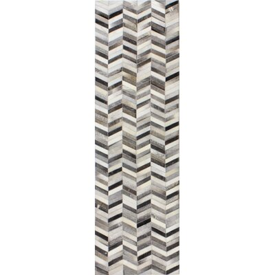 Wright Cow Hide Grey Area Rug Rug Size: Runner 26 x 8
