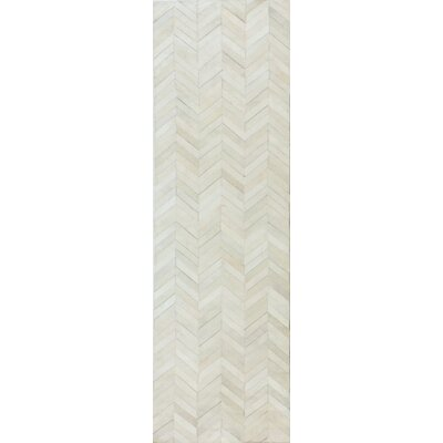 Wright Cow Hide White Area Rug Rug Size: Runner 26 x 8