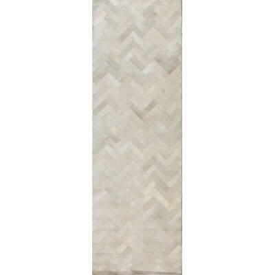 Foraker Cow Hide Hand-Woven Cream Area Rug Rug Size: Runner 26 x 8