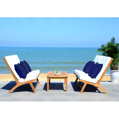 Cortney 4 Piece Lounge Seating Group with Cushion Frame Finish: Teak