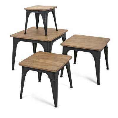 Sallisaw Wood and Metal Display 4 Piece Nesting Tables