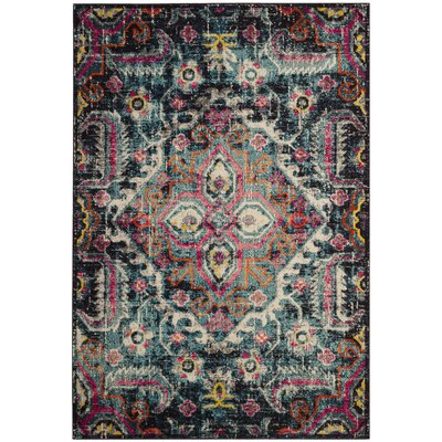 Chelsie Blue/Fuchsia Area Rug Rug Size: Rectangle 51 x 77
